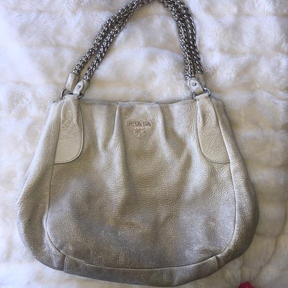 144308df8ccd Prada Bags   Eel Skin Bag With Silver Metal Chain Handles   Poshmark